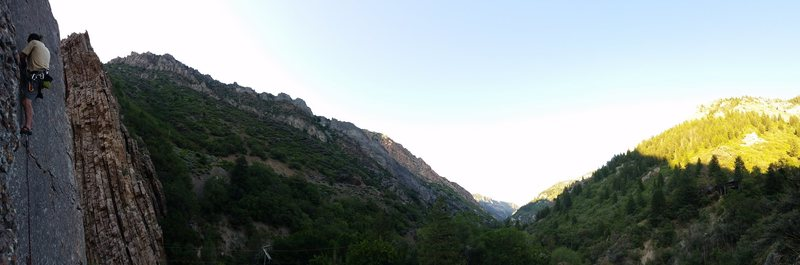 Panorama of ogden canyon with climber on route