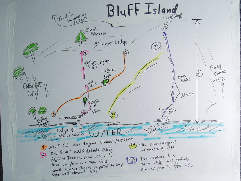Bluff Island - topo drawn 2007 from memory of July 1999 trip.
