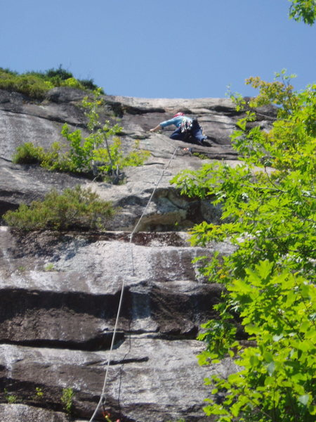 RW Climbing the really nice rock of the top half of P3, Trail of Tears