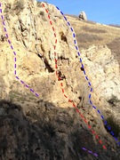 Rock Climbing Photo: Jug Hall Wall right side beta photo Purple = Big J...