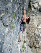 Rock Climbing Photo: Natasha approaching the crux.