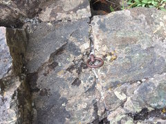 Ring piton below TR anchors.  Likely placed during WWII.