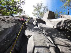 Rock Climbing Photo: Francisco Herrera on the start of La Huevos.  Phot...