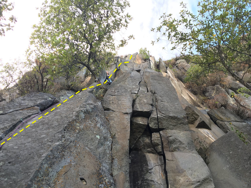 Rock Climbing Photo: Mauricio Herrera Cuadra chimneying halfway up Tibi...