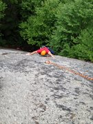 Rock Climbing Photo: Ben at the step-over to the upper face on the FA.
