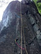 Rock Climbing Photo: Rope set up on Repo Man, which takes small pro. Cr...