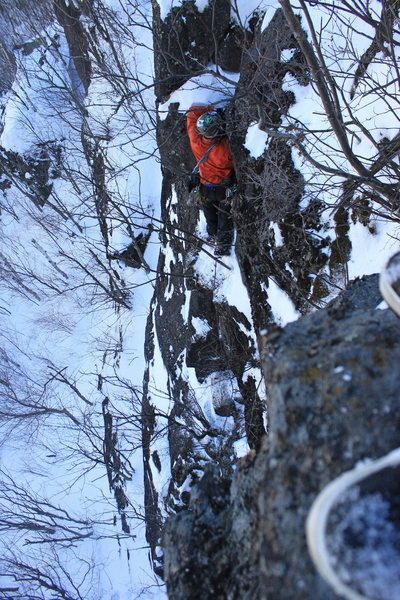 Placing gear before the last bit of climbing