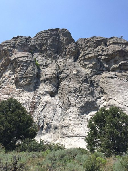 Rock Climbing Photo: Route starts in the middle of the pic, just left o...