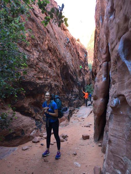 Rock Climbing Photo: black corridor at red rocks