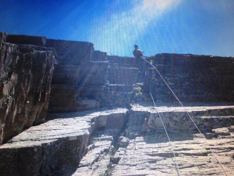 Rock Climbing Photo: Finishing the crux roof.
