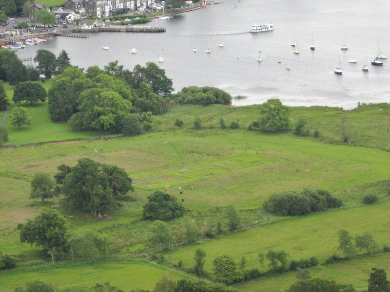 The foundation marks in a field of a Roman Fort ... Nest to Lake Windermere .Cumbria