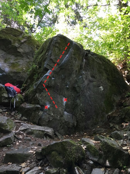 The Mob Boulder just below Gut Crunch.