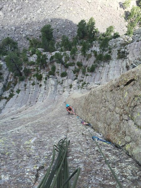 Rock Climbing Photo: Anne Peick casually follows pitch 2.