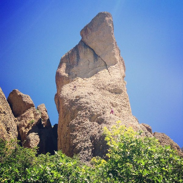 Looking up at heart rock from the road.