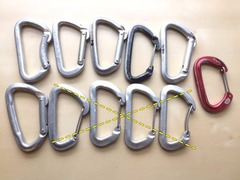 Rock Climbing Photo: Assorted Biners (11 total)  Well used, some are wo...