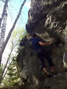 Rock Climbing Photo: Crux move on Dickens.  Mackenzie Pond Boulders, AD...
