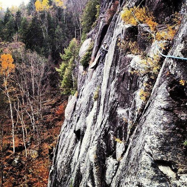 Rock Climbing Photo: Halfway up Prince, King Wall, ADK.