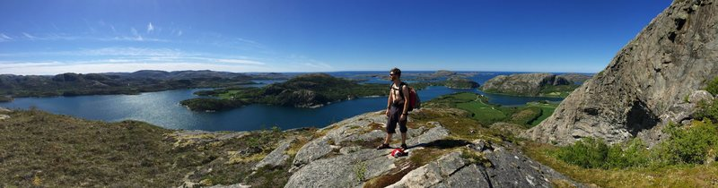 The view on the hike up to the Footwork Sector of Hanshallaren, Flatanger in Norway.