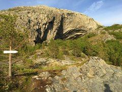 "Late evening light, lighting up the ""big cave"" at Hanshallaren, in Flatanger, Norway."