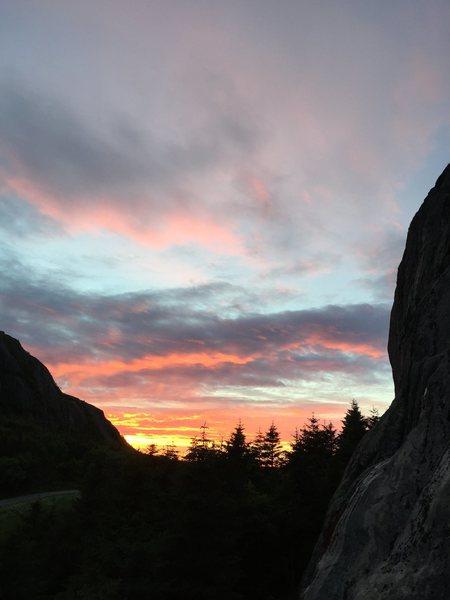 Rock Climbing Photo: Sunset...or is it sunrise, at Sandmaelen Crag in F...