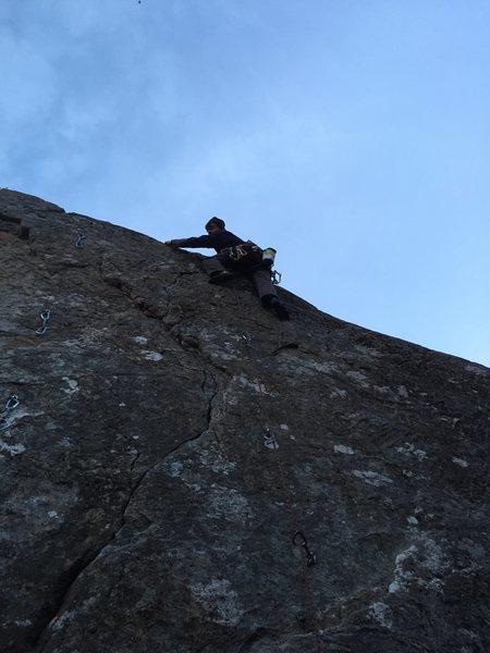Warren Schaefer sending the short 5.9 Selfie pa toppen at midnight on midsummer's eve.  It never got dark.