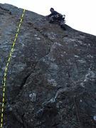 The fun short 5.10b Surstraumeningen at Sandmaelen crag in Flatager, Norway.