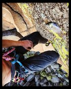 Rock Climbing Photo: A friend's selfie while seconding after the FA...