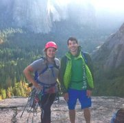 Just hanging with my buddy Alex Honnold at the top of my very first Yosemite multipitch, no big deal