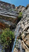 "Rock Climbing Photo: Looking up the bushy corner of P2 of ""Wishful..."
