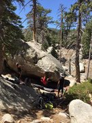 Rock Climbing Photo: Bert using the alternative beta for shorter climbe...