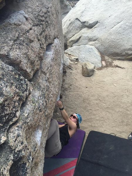 Rock Climbing Photo: Tinna working the line.