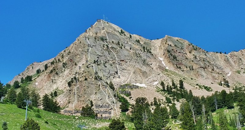 Rock Climbing Photo: Established lines on Mount Ogden.