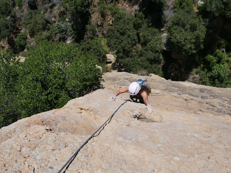 Rock Climbing Photo: Ally Cat working up the second pitch of Ugly Duckl...