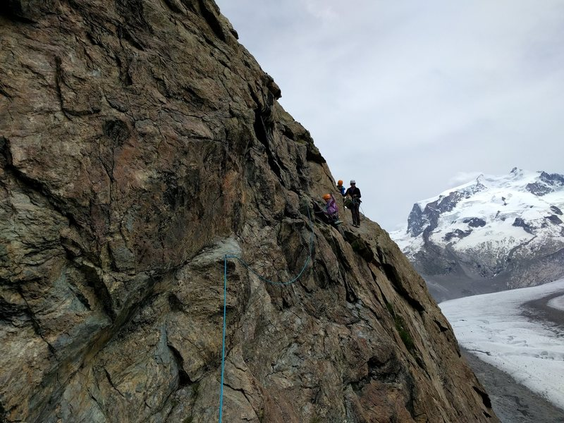 """Second section of tricky traverse on the approach to """"Egg"""".  Not easy with small ones, but manageable with the spikes and bolts."""