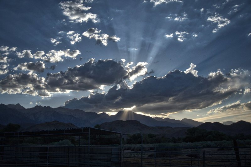 Sun setting over Mount Williamson from Lone Pine.