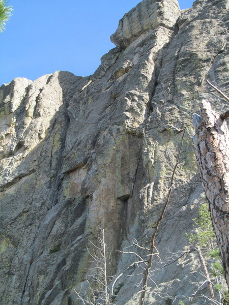 Rock Climbing Photo: Route follows the brown dihedral into the large ch...