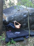 Rock Climbing Photo: First move of AssMaster on the FA