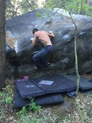 Rock Climbing Photo: Pulling the mantle on the FA