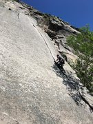 Rock Climbing Photo: shadowboxing up reppy's crack (cannon, nh)
