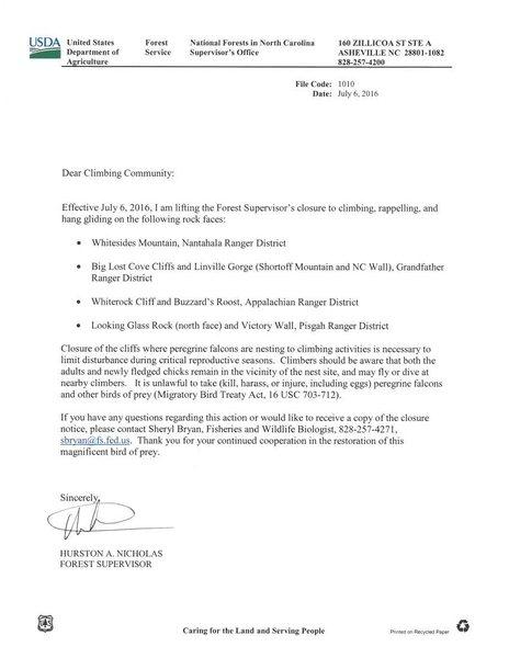NC Falcon Closures Lifted