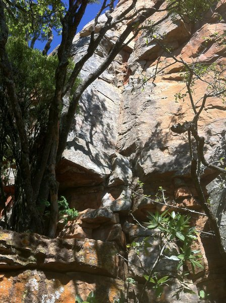 Rock Climbing Photo: Looking up towards the starting block. To access y...