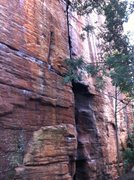 Rock Climbing Photo: Clearly defined crack above the initial block.