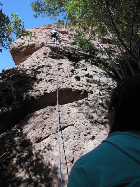 Rock Climbing Photo: Excellent route for a first outdoor lead climb.