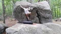 Rock Climbing Photo: big lunge for good left jug