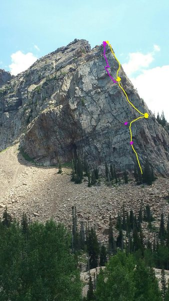 Yellow line is the original route. Yellow dots are where I belay, pink dots are belays I skip cause they suck and the pink line is what we climbed.