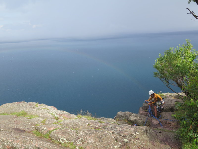Rock Climbing Photo: View of rainbow from top of Phantom crack right af...