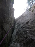 Rock Climbing Photo: The Great Bird Chimney from the start, just above ...