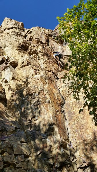 Rock Climbing Photo: John Gaynes on the sharp end. Middle section takes...