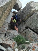 Rock Climbing Photo: This is the exit to the summit block. After P4 (de...