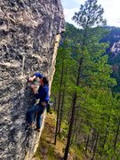 Rock Climbing Photo: Working the delicate upper slab